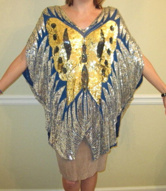 sequin women's top butterfly one size fits all