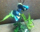 Hanging Wire Basket with Blue Butterfly