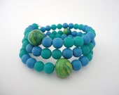 Swirls of Green and Blue Bead Memory Bracelet