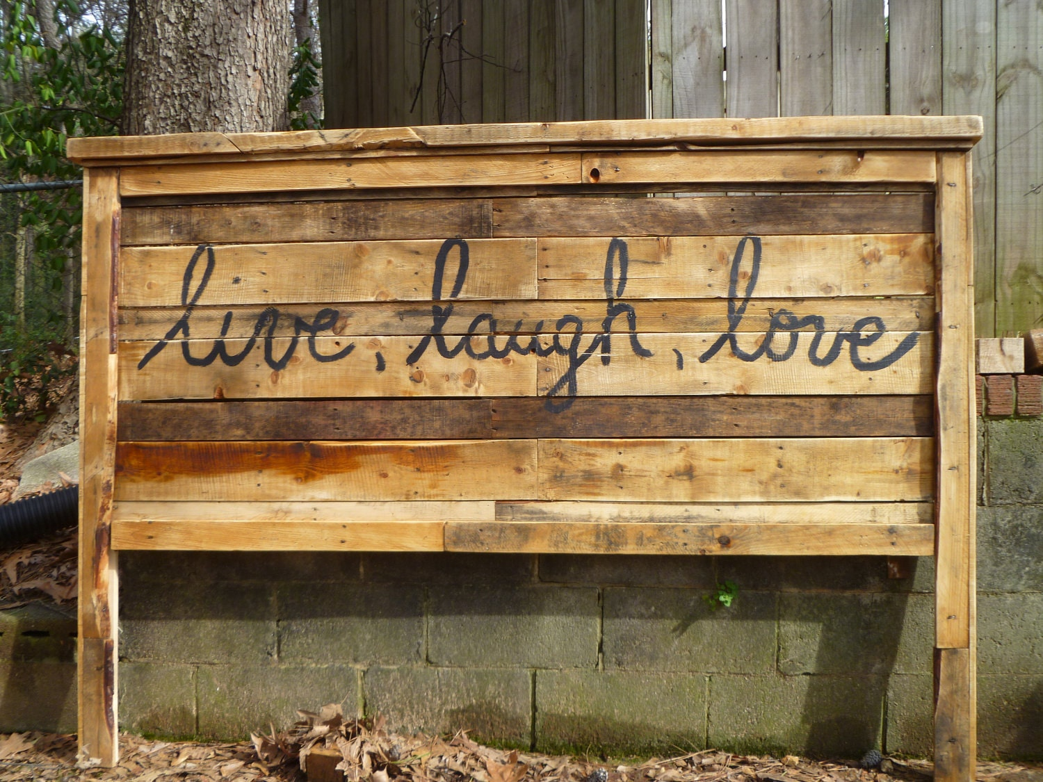 Items similar to pallet farmhouse style headboards queen for How to make a king size headboard out of pallets