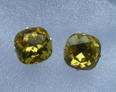 Swarovski Crystal Lime Cushion Cut Stud Earrings (10mm)