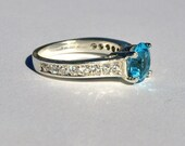 Swiss Blue Topaz Sterling Silver Ring - Size 7