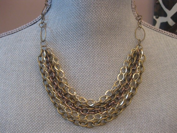 Chunky Chain Necklace in Multi Shades of Gold