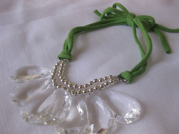 Green and Silver Beaded Bib Necklace with Jersey Tie & Crystal Teardrops