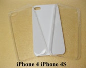 Diy iPhone 4 4S Clear Case for Bling Decoden, Plastic Hard Blank Snap-on Back Covers, White Deco Cases, 4 pcs