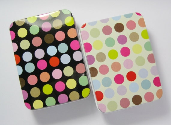 Tin Boxes with Lids, Polka Dots Pattern, Metal Storage Cases, 2 pcs