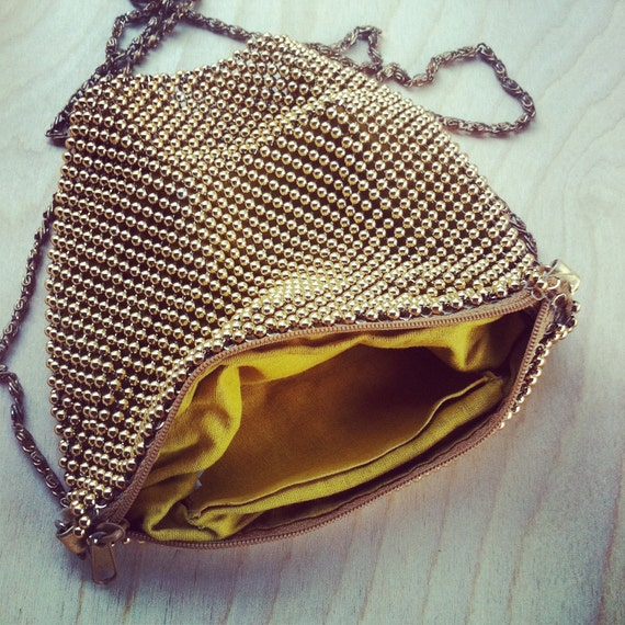 RESERVED for SANDY Vintage Gold Mess Bead Purse circa 1960s