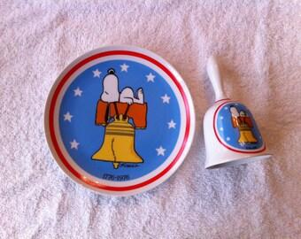 Snoopy Bicentennial 1976 Plate Bell Peanuts Schmid Liberty