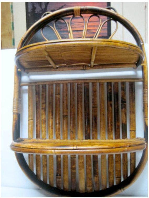 Vintage Chinese Bamboo Folding Wall Shelves Rattan