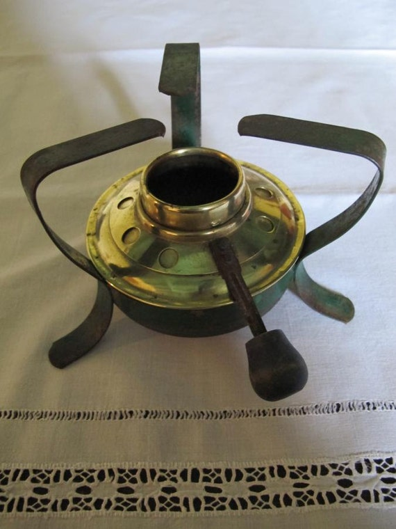 Vintage French Tripod Alcohol or Spirit Stove Burner with Treen Handle