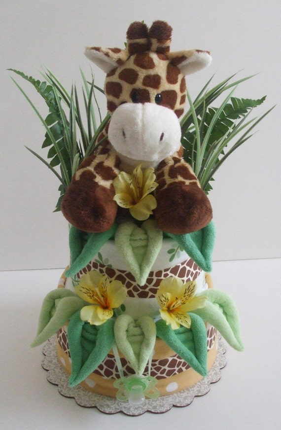 2 Tier Jungle Giraffe Diaper Cake