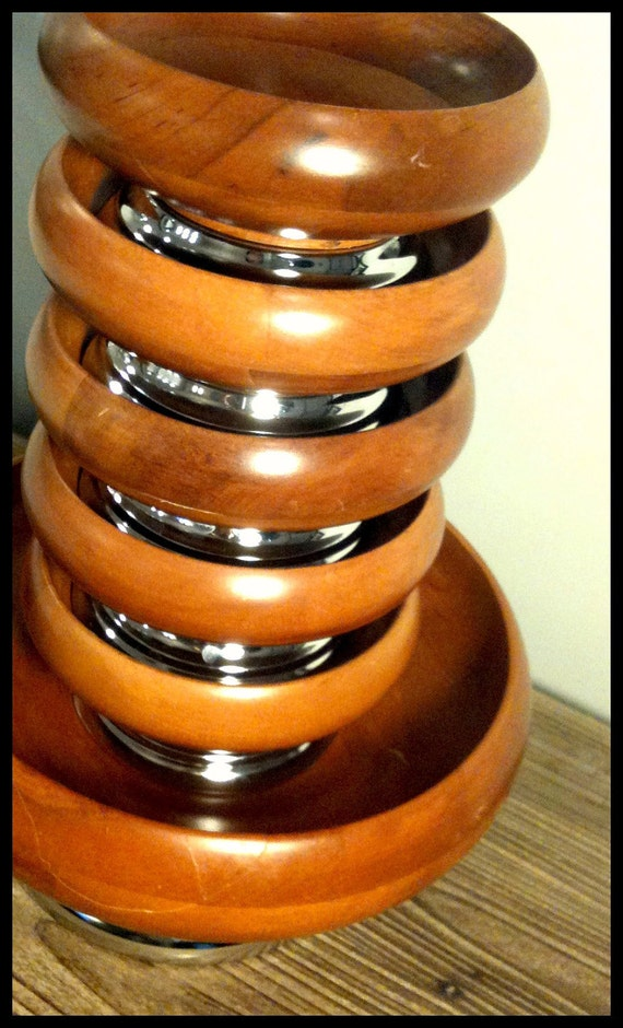 Vintage 1970s Wooden 6 Piece Salad Bowl Set with Stainless Steel Bases