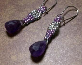 Hand-cut amethyst beauties, beadwork earrings