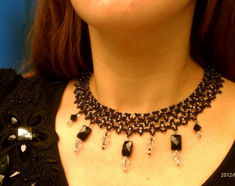 Elegant beaded black and crystal necklace