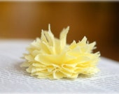 fabric flower hair clip in butter yellow