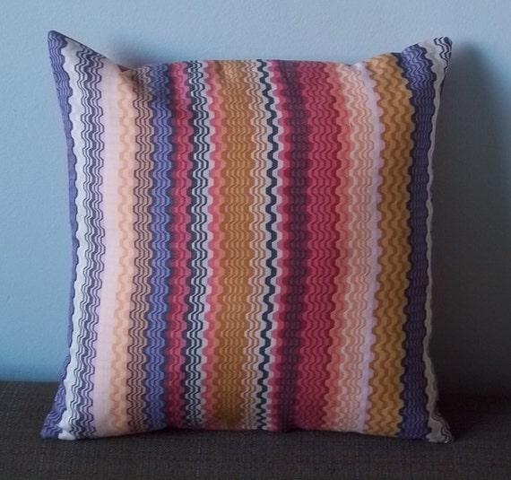 SALE Genuine Missoni fabric pillow cover in red, grey, gold, purple cotton 14 inch