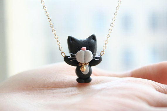 Milo the cat hanging necklace -14k Gold filled-