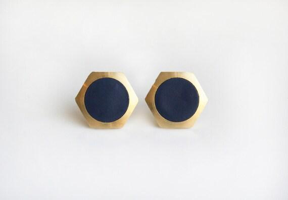 Geometric Hexagon with navy circle stud earring
