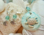 Porcelain Swimming Sea Turtle Necklace and Earring Set