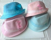 PASTEL Linen Fedora Hat with Feather