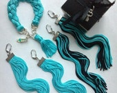 Spring Trend NEON Tiffany Blue Braided Fringe Friendship Charm Bracelet Earrings Set