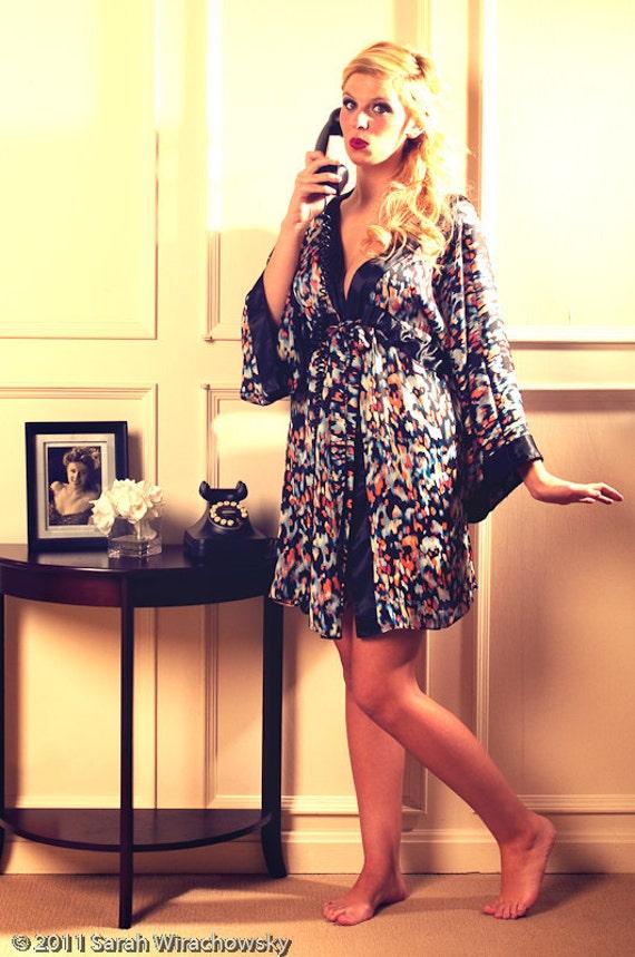 Blue Breeze Poly Satin Kimono Robe