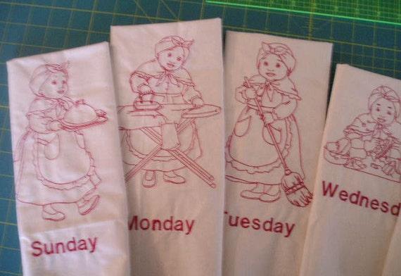 Mammy Black Americana Days of the Week Embroidered Redwork Tea Towel Set