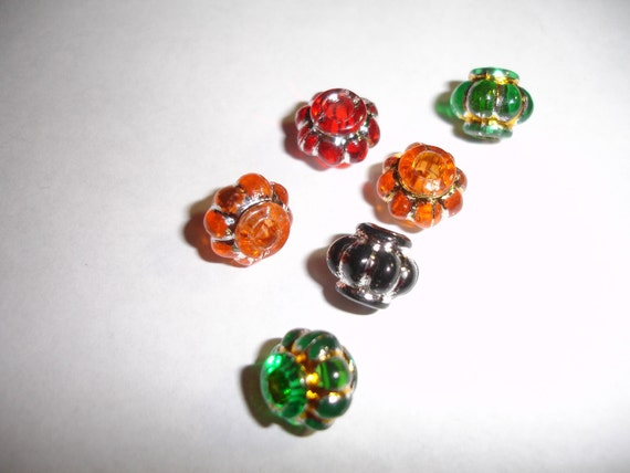 Lantern Style Beads Multi Colored 10 beads