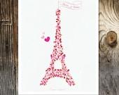 Paris Je t'aime - Paris France Art Print - Tour Eiffel - Eiffel Tower Art  - Love Heart Eiffel Tower Paris