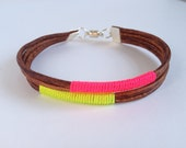 FREE SHIPPING with coupon code Summerlove - Natural Brown Leather and Neon Cord Bracelet