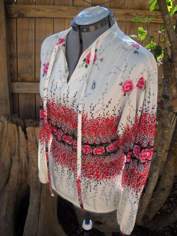 vintage womens BOHO floral peasant blouse TUNIC
