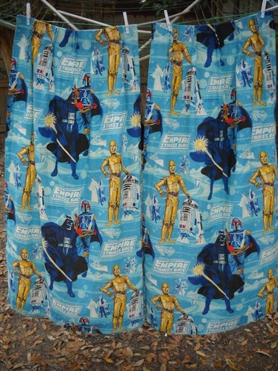 vintage 70s STAR WARS the Empire Strikes Back PAIR of curtains