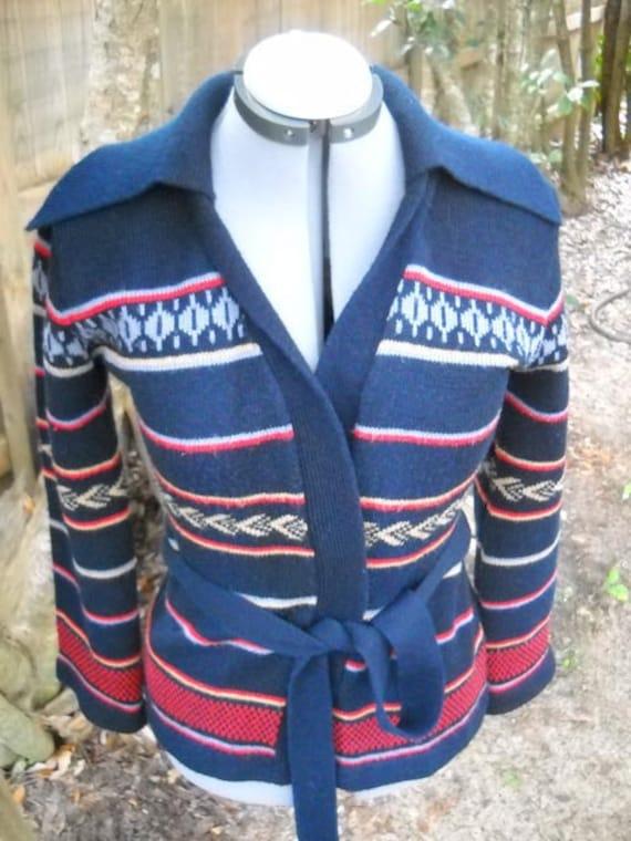 vintage 60s WRAP sweater SASH tie up cardigan