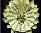 Book Page Paper Wreath with paper flowers / paper Rosettes