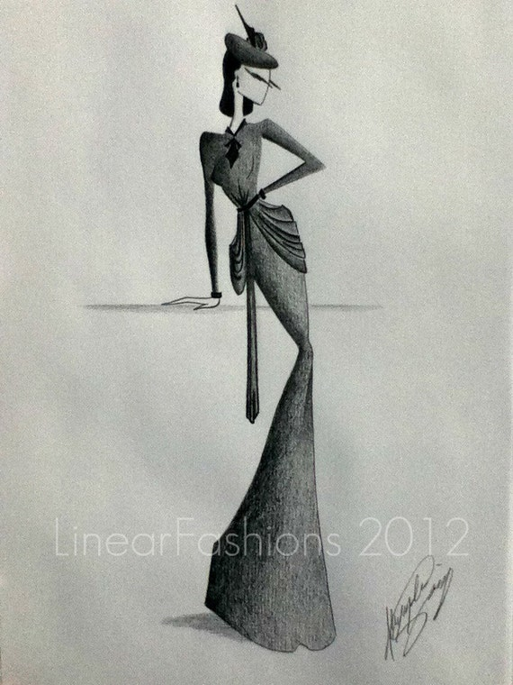 Fashion Art Sketch 1940s Gown Black and White Decor