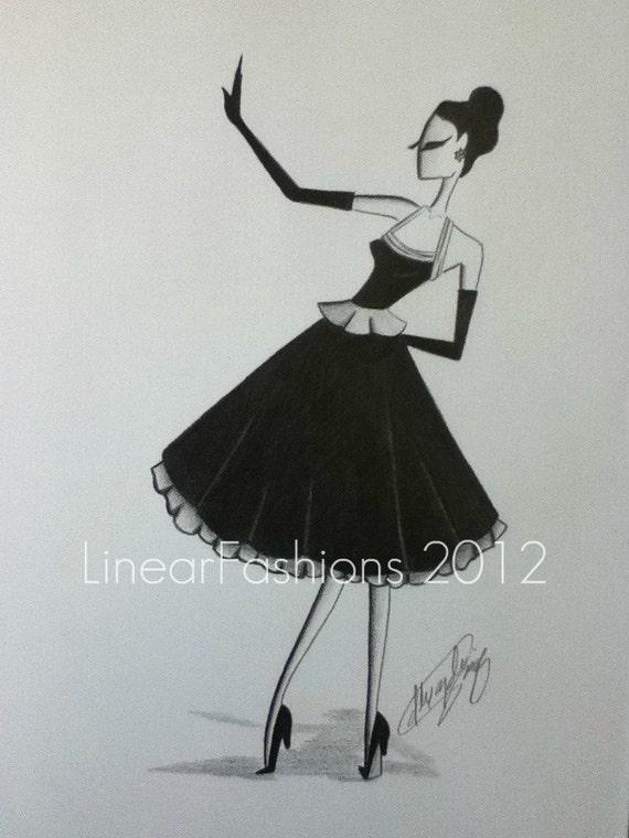 Fashion Sketch Illustration Art 1950s Party Dress