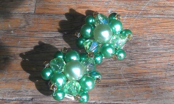 Vintage Mint Green Clip-on Earrings