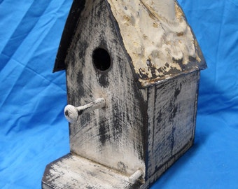 French Country Bird house, Victorian Style Birdhouse, Functional bird house, Shabby Chic, Antique Ceiling Tin, Antique style birdhouse