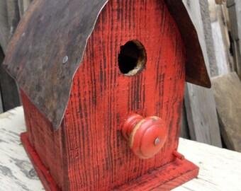 Barn Birdhouse, Rustic wooden birdhouse, Functional Birdhouse, Primitive birdhouse