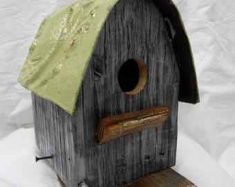 Barn bird house, rustic bird house, functional bird house, antique ceiling tin, Primitive bird house, Small Bird House, Bird House