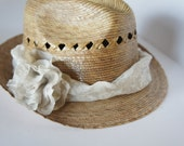 Straw Fedora Hat, flower pattern ribbon, great for spring and summer, with same fabric flower on the side..
