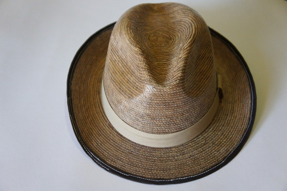 Straw Fedora Hat, with camel / nude ribbon around and detail  by side, great for spring and summer.