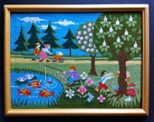 Handstitched Picture of Park Scene