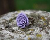 Lavender flower cabochon on antique bronze filigree adjustable ring