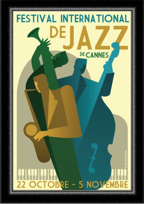 affiche festival jazz art deco 1930 cannes. Black Bedroom Furniture Sets. Home Design Ideas