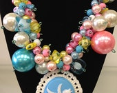 Chunky Pegasus Cotton Candy Pearl Necklace