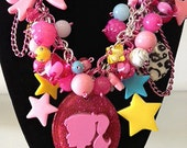 Barbie Hot Pink Leopard Chunky Charm Necklace