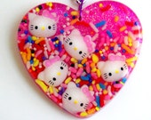Candy Glam Hello Kitty Inspired Heart Pendant Necklace