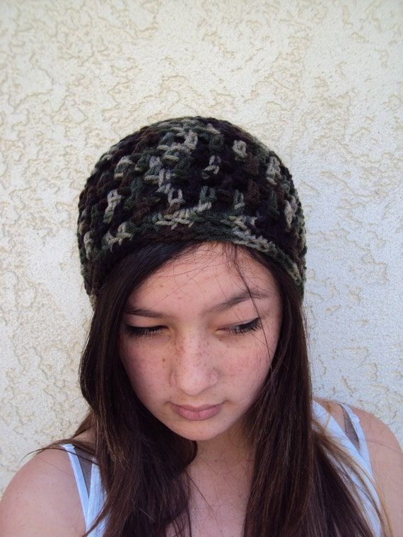 Camouflage Hat Green Beanie Unisex Cap Bohemian Hipster