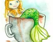ACEO - Mermaid Tea Giclee Print